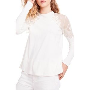NWOT Free People Daniella Lace Top White XL